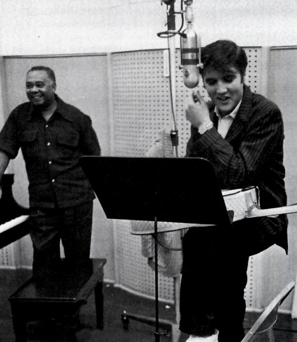 Elvis and Dudley Brooks in the studio at Radio Recorders, 1957. From Elvis-ForEveryone.com